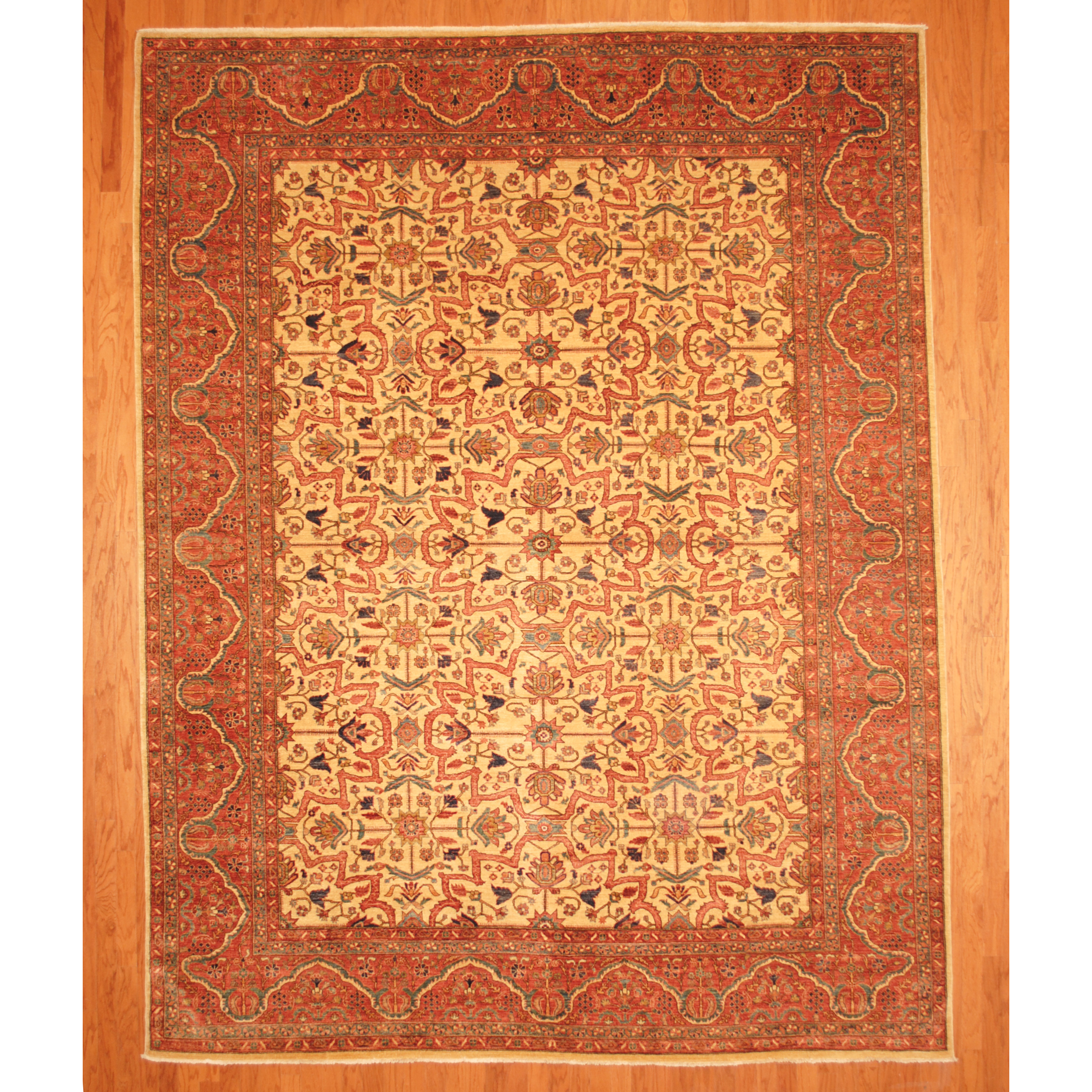Vegetable Dyed Hand Knotted Floral Oushak Ivory Persian: Afghan Hand-knotted Vegetable Dye (9'9 X 12'7)