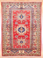 Afghan Hand-knotted Kazak (4'2 x 5'6) 1