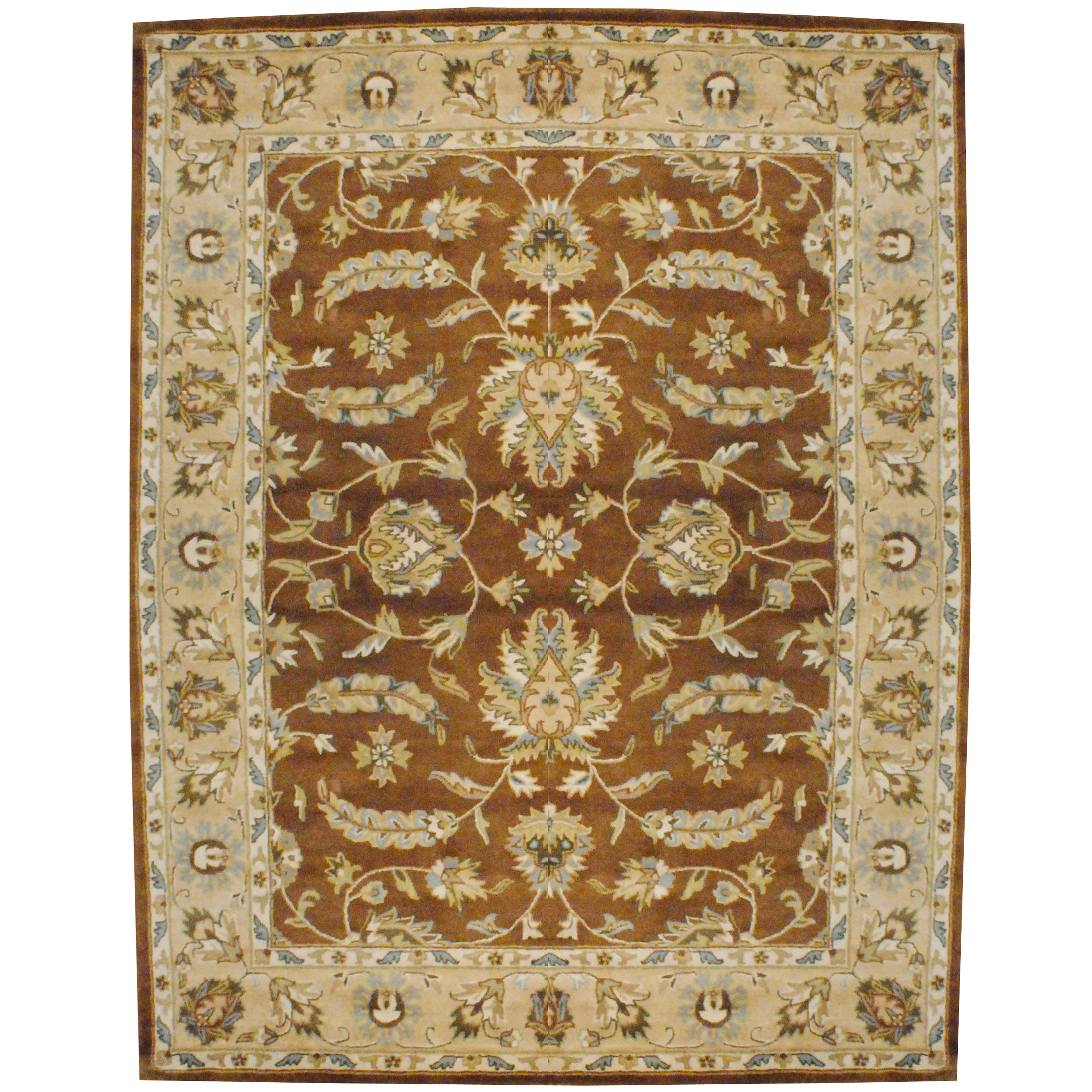Indo Hand Tufted Mahal Brown Wool Rug 8 X 10 Herat Oriental Rugs