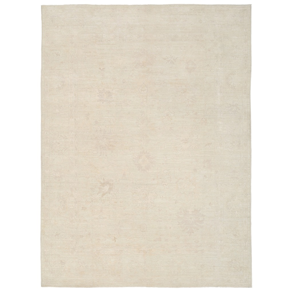 Afghan Hand-knotted Vegetable Dye Whitewash Oushak Wool Rug (9'1 x 12'2)