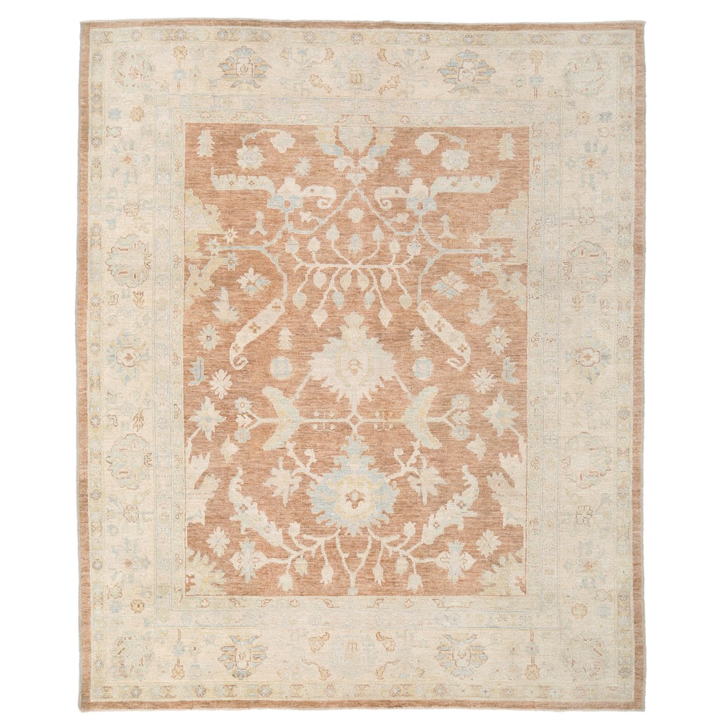 Afghan Hand-knotted Vegetable Dye Whitewash Oushak Wool Rug (8'4 x 10′)