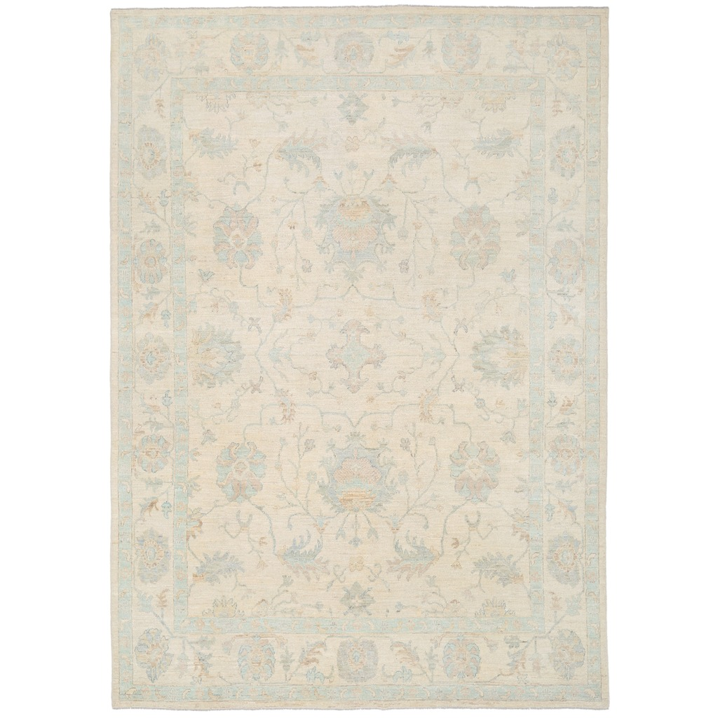 Afghan Hand-knotted Vegetable Dye Whitewash Oushak Wool Rug (8'8 x 12'3)