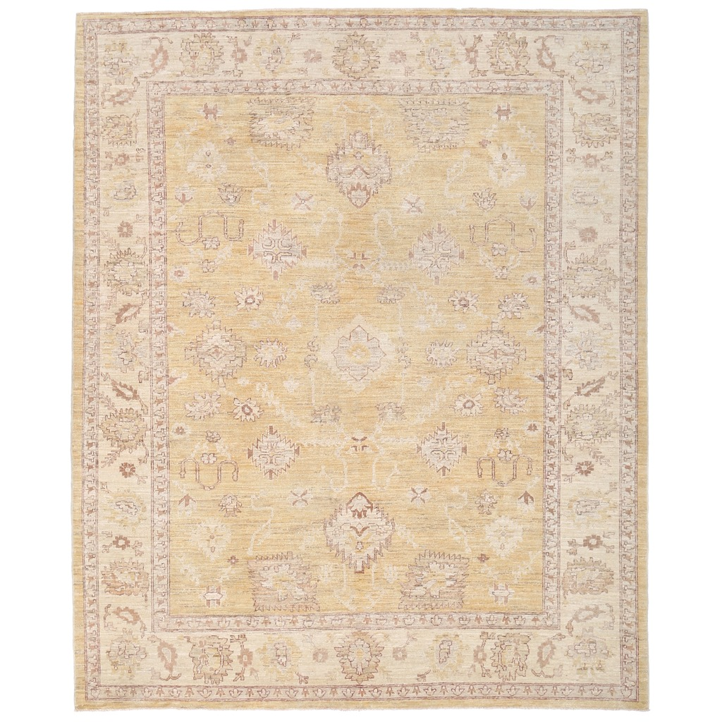 Afghan Hand-knotted Vegetable Dye Whitewash Oushak Wool Rug (7'5 x 9′)