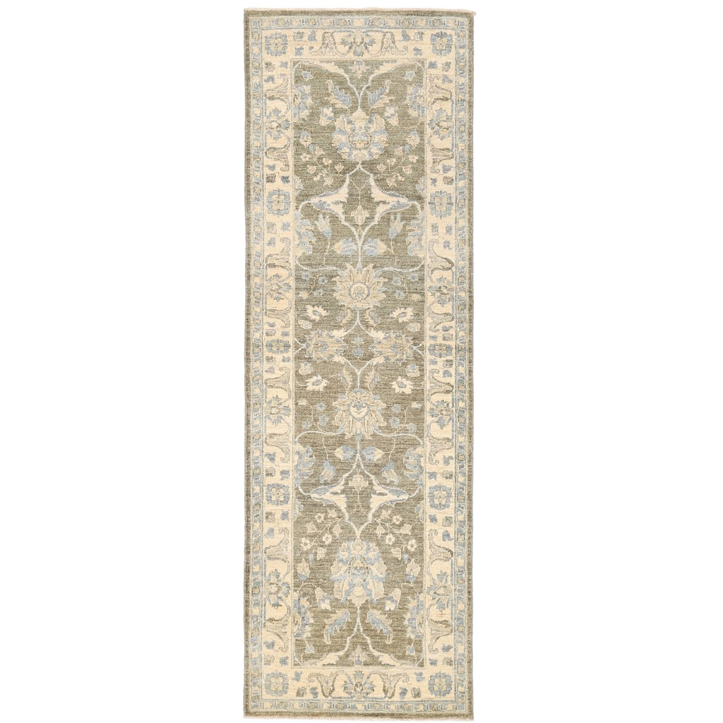 Afghan Hand-knotted Vegetable Dye Whitewash Ziegler Wool Runner (2'7 x 8'2)