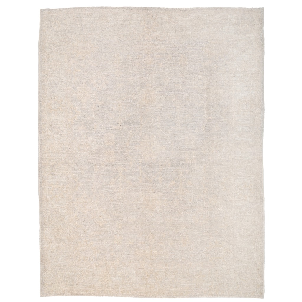 Afghan Hand-knotted Vegetable Dye Whitewash Oushak Wool Rug (6'7 x 8'7)