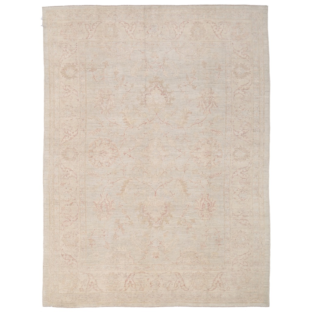 Afghan Hand-knotted Vegetable Dye Whitewash Oushak Wool Rug (8'10 x 12′)