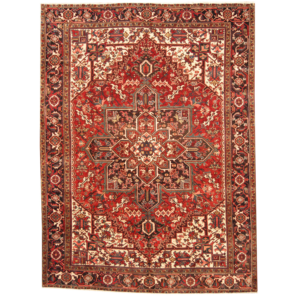 Persian Hand Knotted Semi Antique 1960s Heriz Wool Rug 8 8 X 11 6