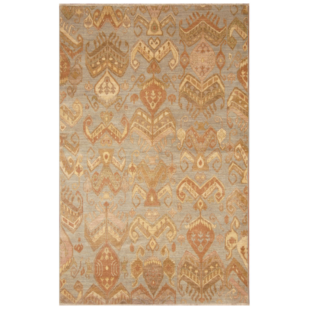 Indo Hand Knotted Vegetable Dye Ikat Wool Rug 5 X 8