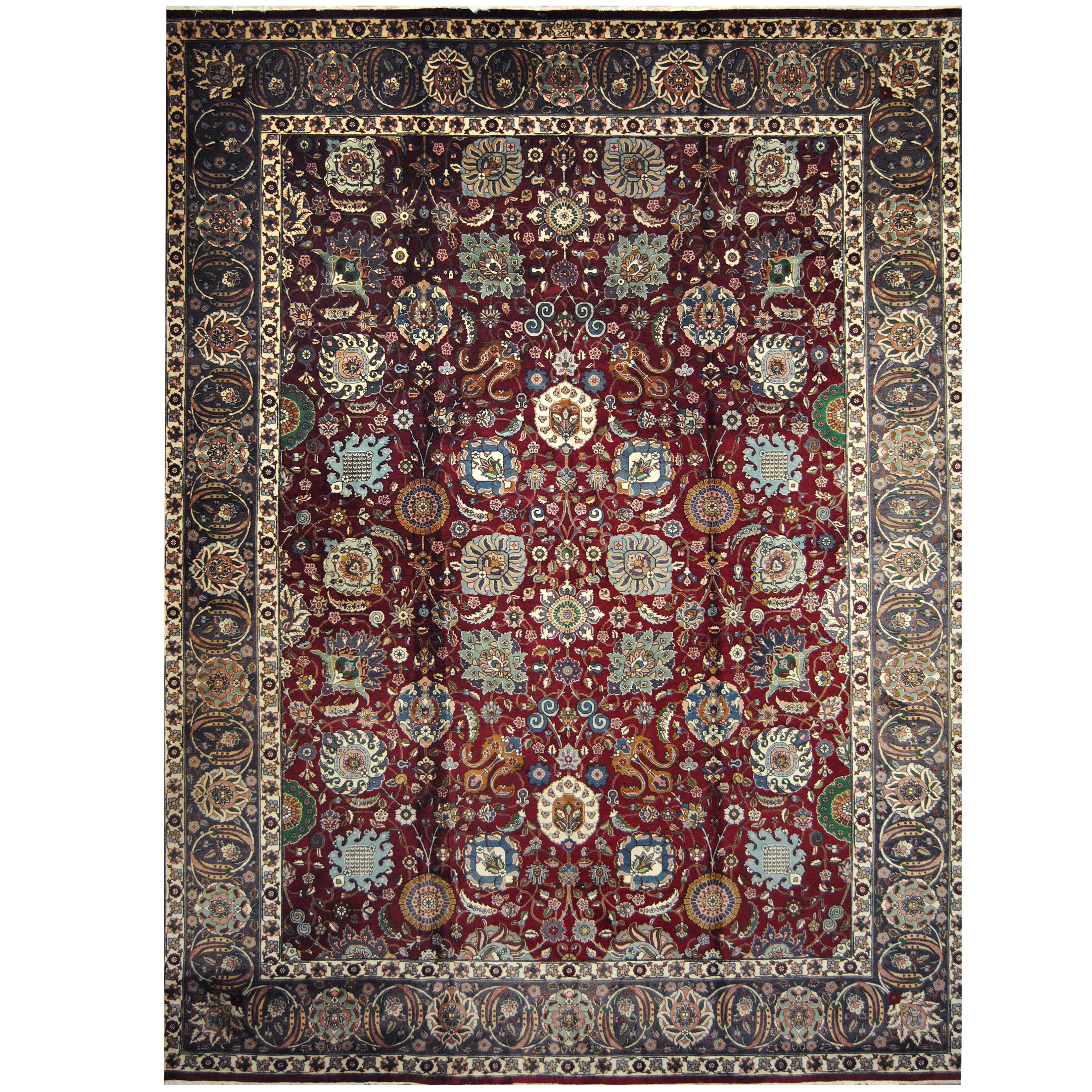 Antique Tabriz Wool Rug