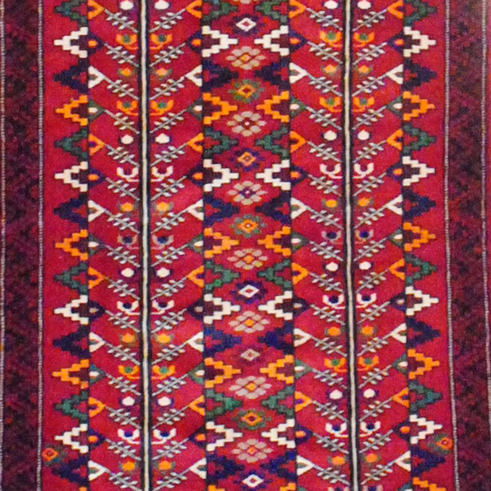 Shop Oriental Persian Gabbeh Shades Of Orange Hand Knotted: Tribal Persian Hand-knotted Balouchi (3'1 X 8'10)