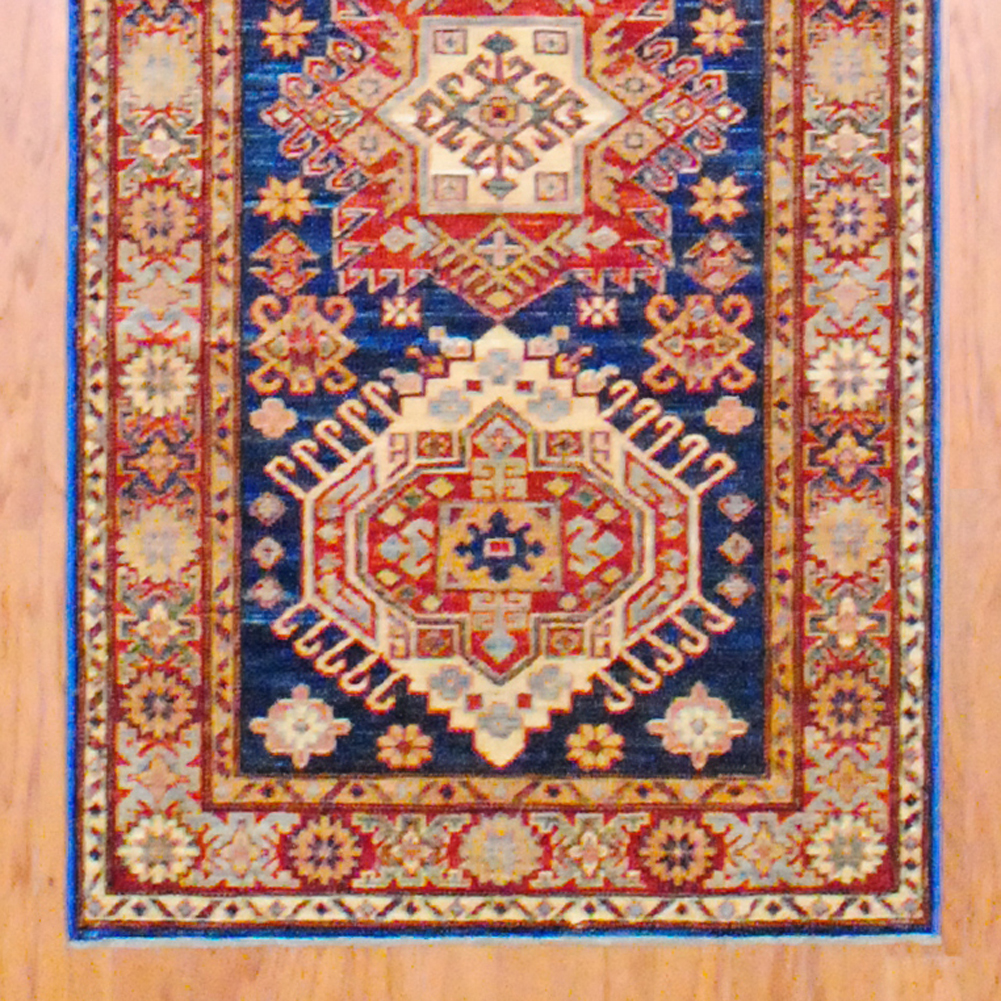 Pasargad Ny Persian Hand Knotted Wool Light Blue Ivory: Afghan Hand-knotted Kazak (2'8 X 8'3)
