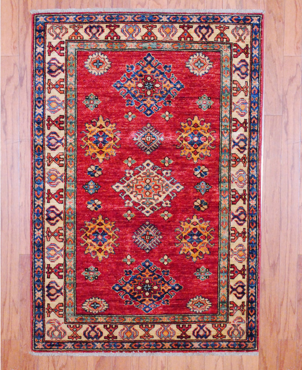 Pasargad Ny Persian Hand Knotted Wool Light Blue Ivory: Afghan Hand-knotted Kazak (3'1 X 4'7)