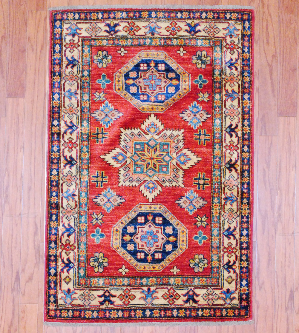Pasargad Ny Persian Hand Knotted Wool Light Blue Ivory: Afghan Hand-knotted Kazak (2'8 X 4'1)