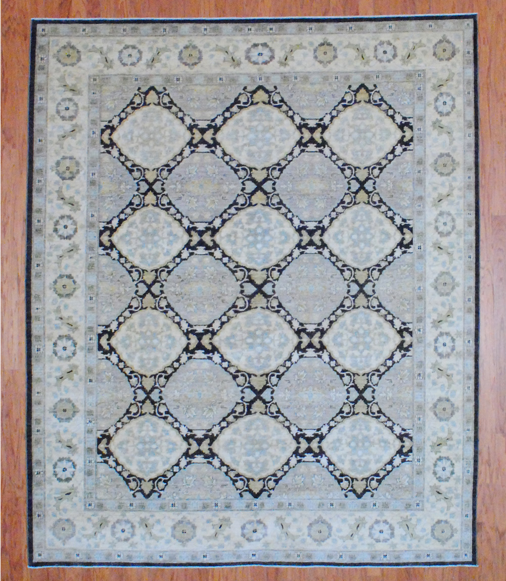 Vegetable Dyed Hand Knotted Floral Oushak Ivory Persian: Afghan Hand-knotted Vegetable Dye (9'6 X 7'10)