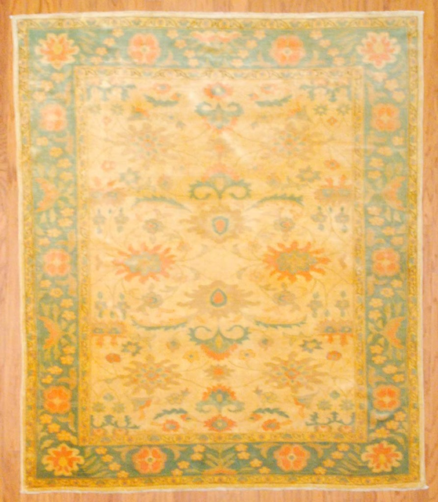 Vegetable Dyed Hand Knotted Floral Oushak Ivory Persian: Egyptian Hand-knotted Vegetable Dye (6' X 7')
