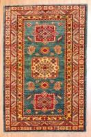 Afghan Hand-knotted Fine Kazak (2'9 x 4'3) 1