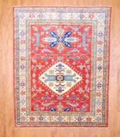Afghan Hand-knotted Fine Kazak (7'10 x 9'8) 1
