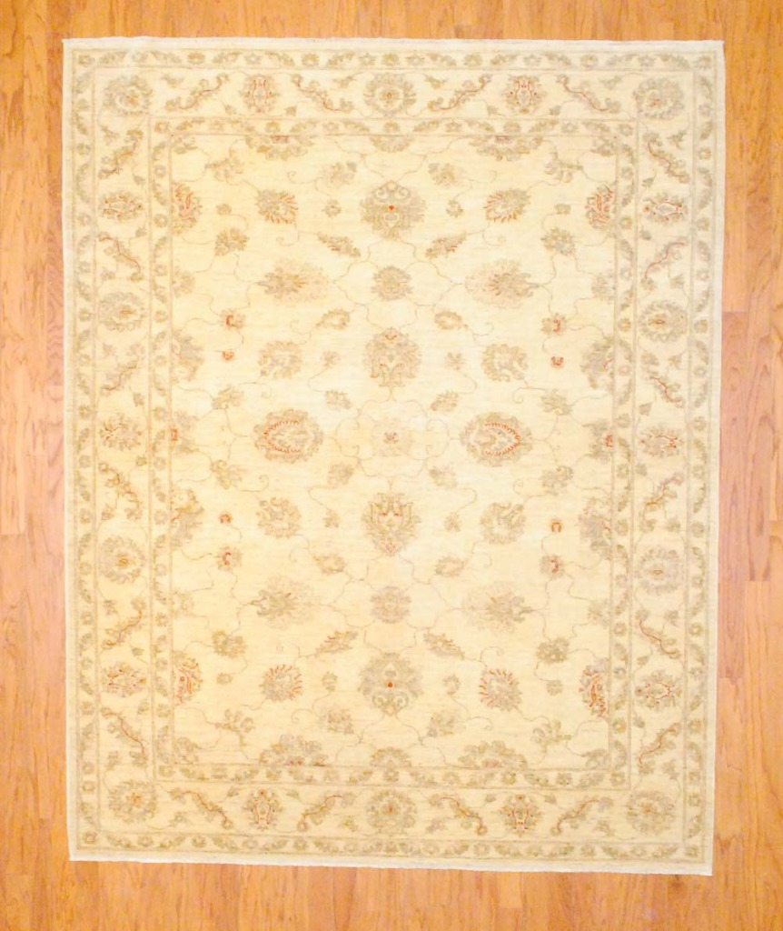 Vegetable Dyed Hand Knotted Floral Oushak Ivory Persian: Afghan Hand-knotted Fine Vegetable Dye (6'10 X 12