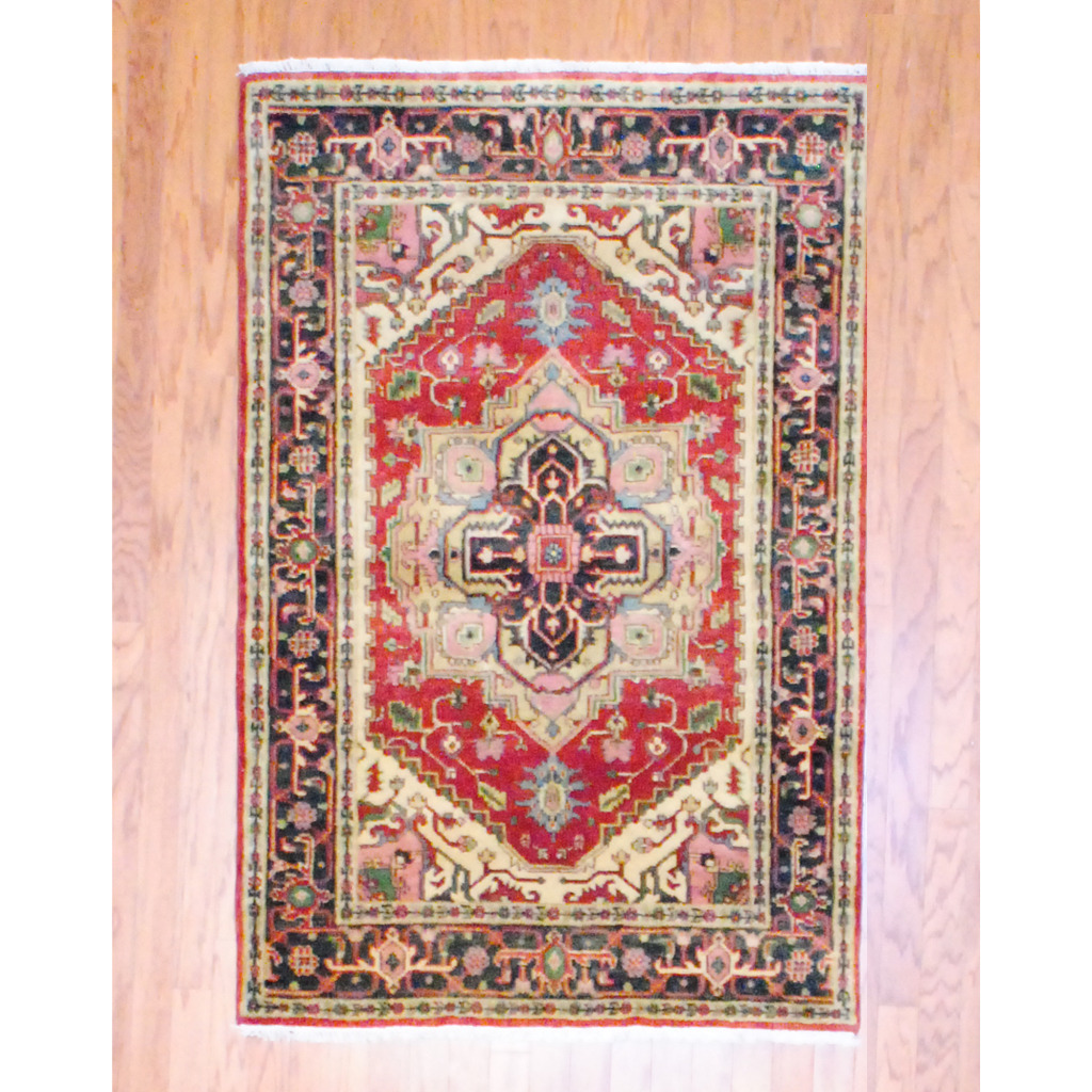 Indo Hand Knotted Heriz Red Wool Rug 4 X 6 Herat