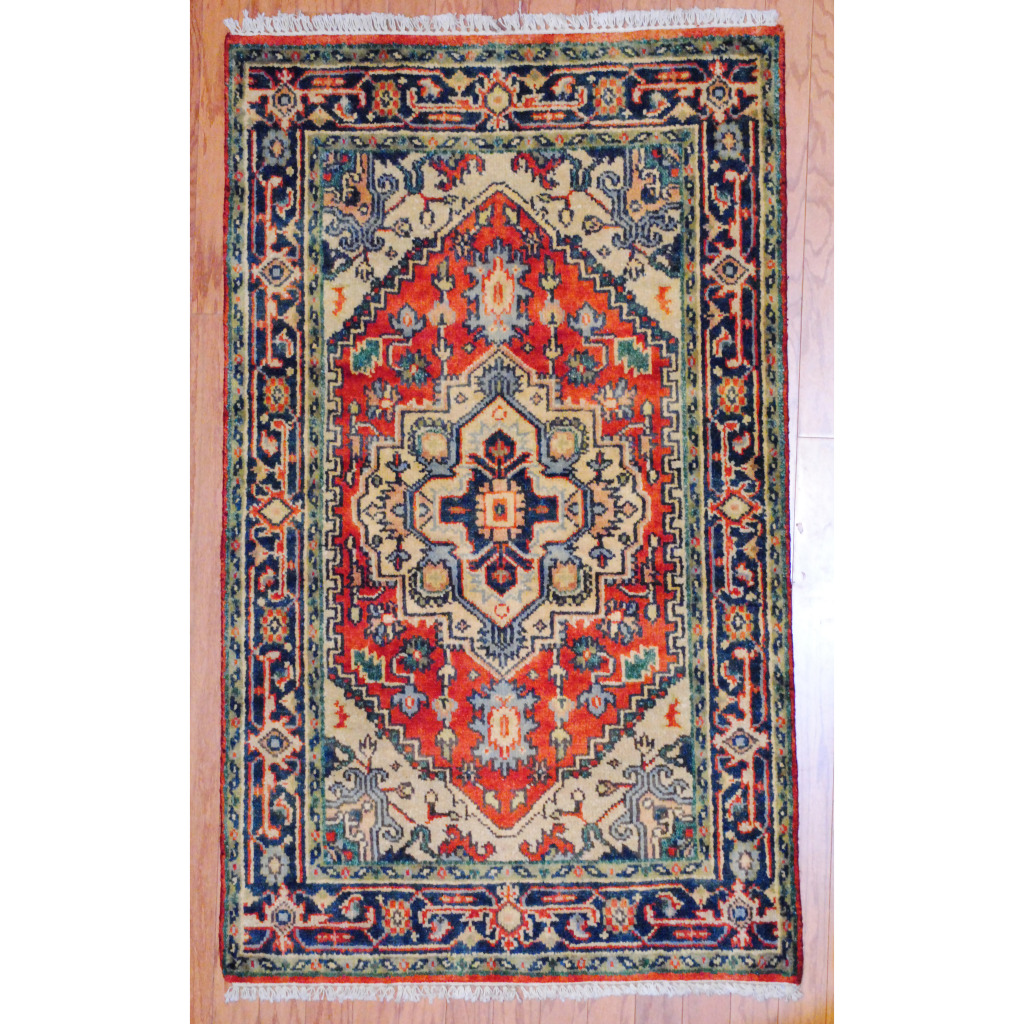 Herat Oriental Hand Tufted Wool Red Black Area Rug: Indo Hand-knotted Heriz Red Wool Rug (3' X 5')