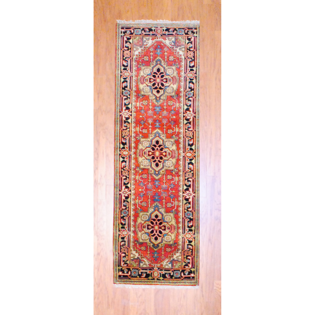 Pasargad Ny Persian Hand Knotted Wool Light Blue Ivory: Indo Hand-knotted Heriz Red Wool Rug (2'6 X 8')