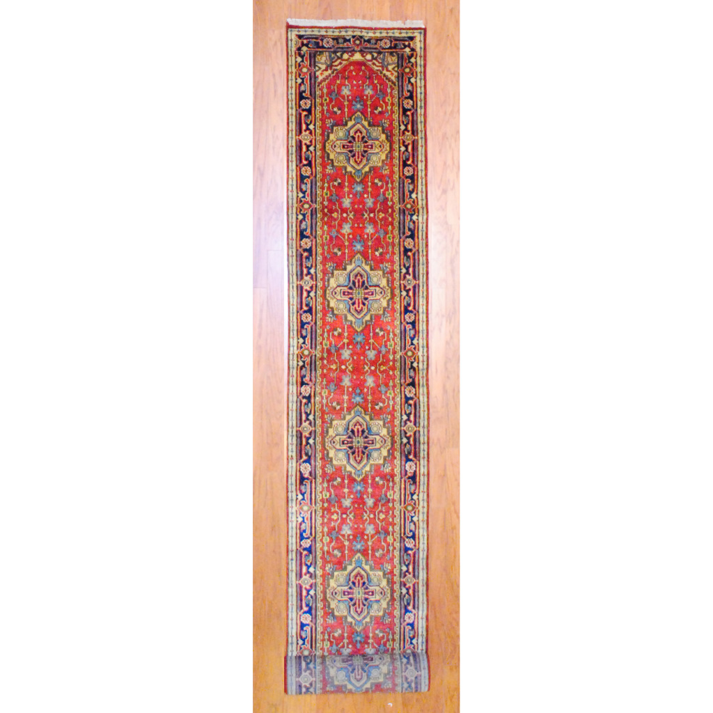 Pasargad Ny Persian Hand Knotted Wool Light Blue Ivory: Indo Hand-knotted Heriz Red Wool Rug (2'6 X 20')