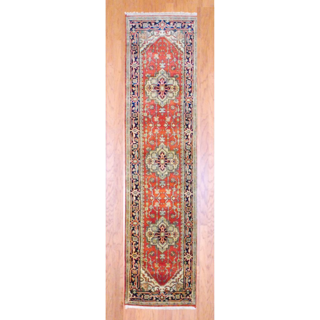 Pasargad Ny Persian Hand Knotted Wool Light Blue Ivory: Indo Hand-knotted Heriz Red Wool Rug (2'6 X 10')