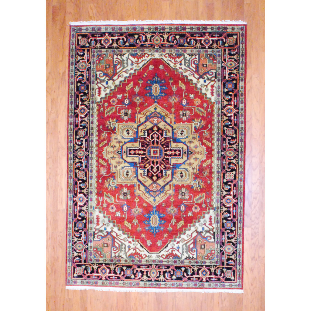 Pasargad Ny Persian Hand Knotted Wool Light Blue Ivory: Indo Hand-knotted Heriz Red Wool Rug (6' X 9')