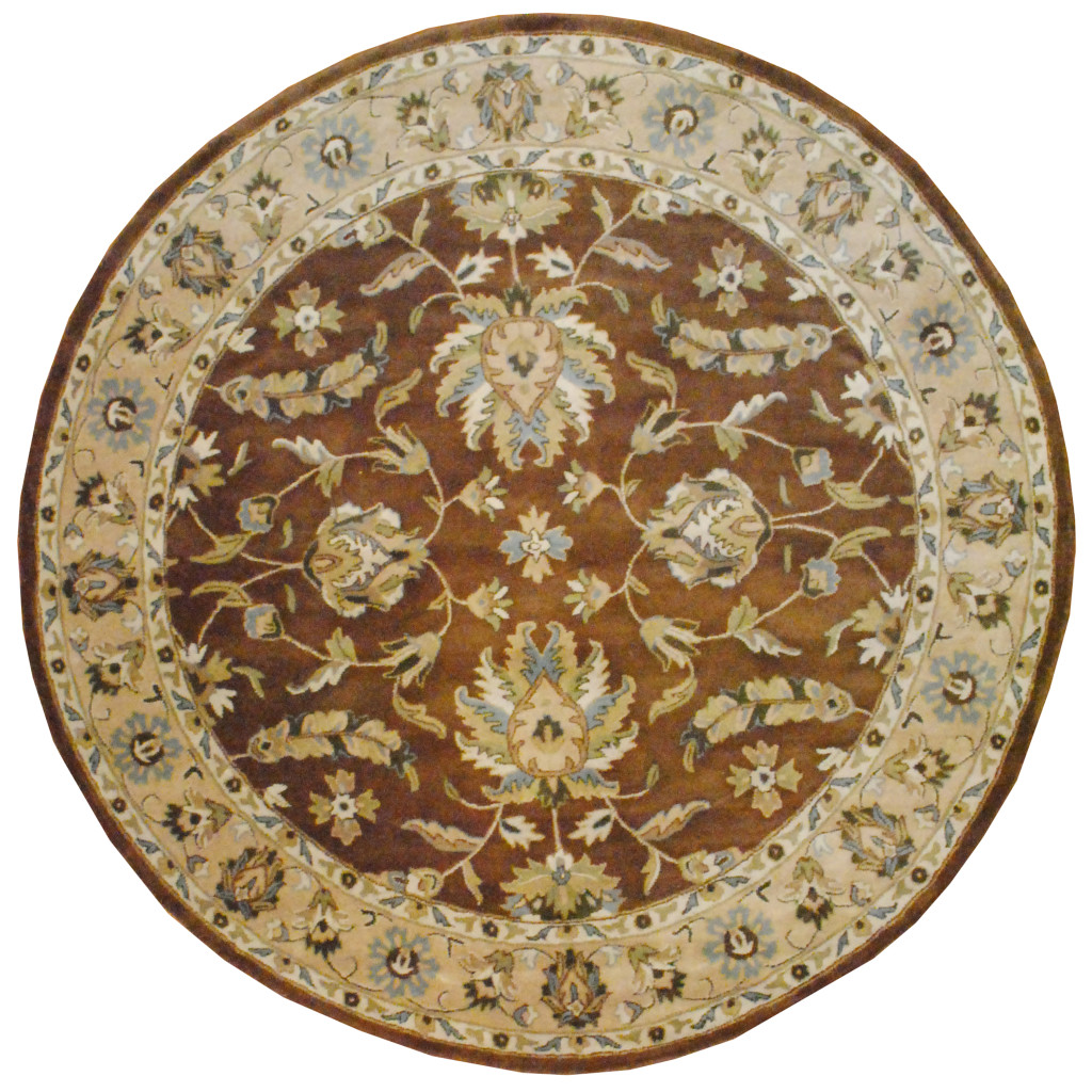 Fine Round Persian Bidjar Area Rug Hand Knotted Wool And: Indo Hand-tufted Mahal Brown Wool Rug (8' X 8' Round