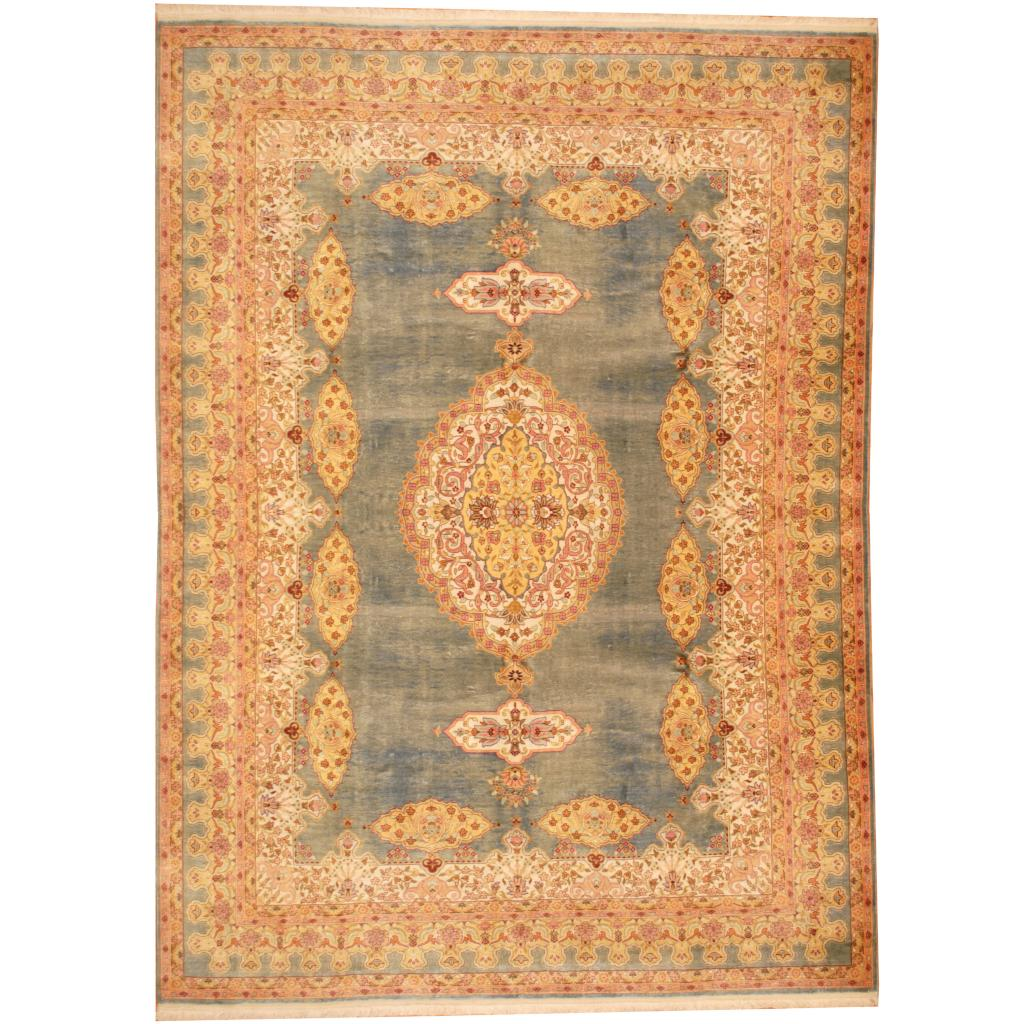 Traditional Kashmir Silk Handmade Hand Knotted Persian: Indo Hand-knotted Kashmir Silk Rug (7'2 X 9'9)
