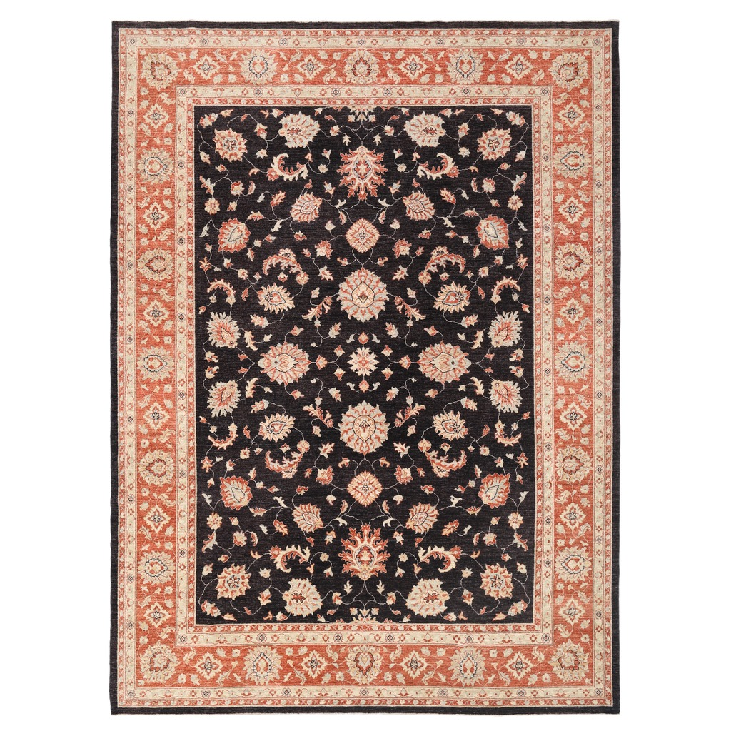 Afghan Hand Knotted Vegetable Dye Oushak Wool Rug 9 X 12 4
