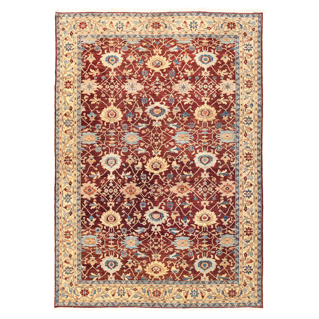 Afghan Hand Knotted Vegetable Dye Oushak Wool Rug 10 X 14 3