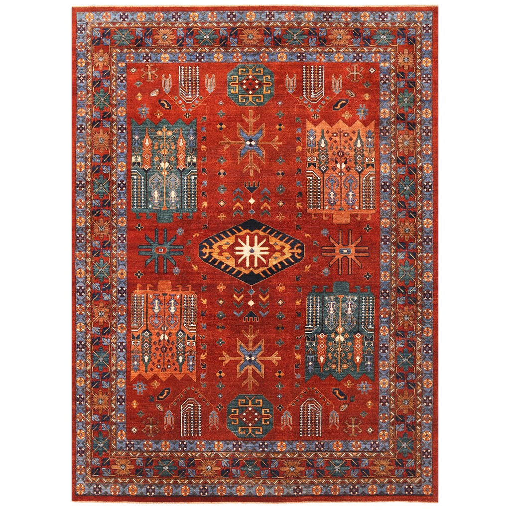 Afghan Hand Knotted Vegetable Dye Turkoman Wool Rug 8 4 X