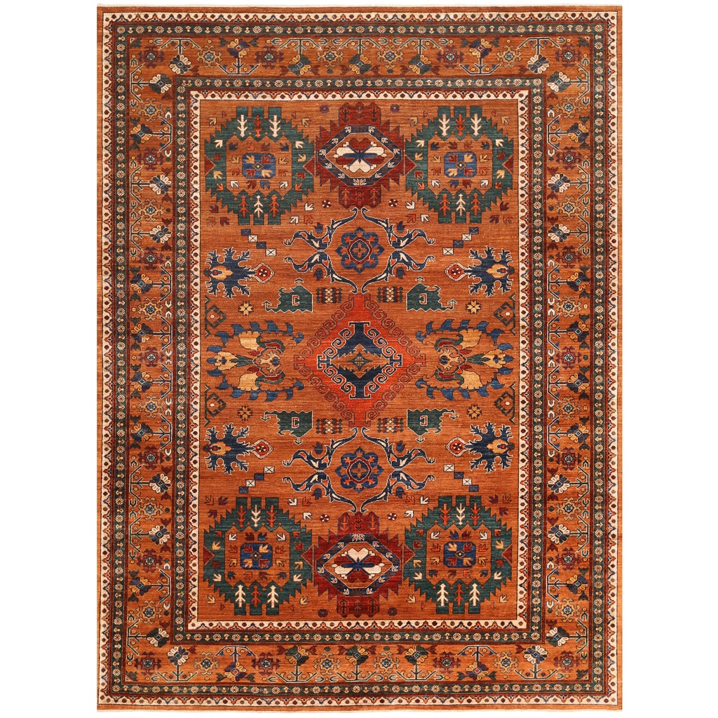 Afghan Hand-knotted Vegetable Dye Turkoman Wool Rug (8' X