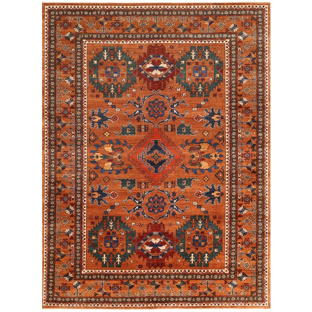 Afghan Hand knotted Vegetable Dye Turkoman Wool Rug 8 X