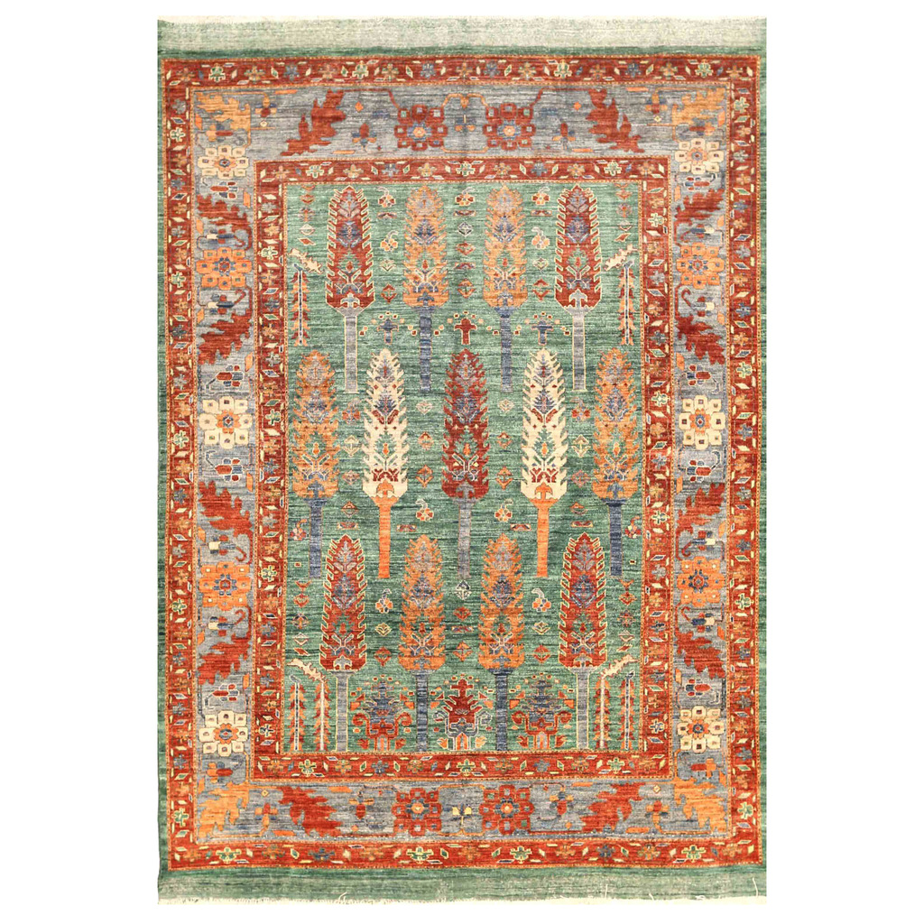Vegetable Dyed Hand Knotted Floral Oushak Ivory Persian: Afghan Hand-knotted Vegetable Dye Bakhtiari Wool Rug (6'1