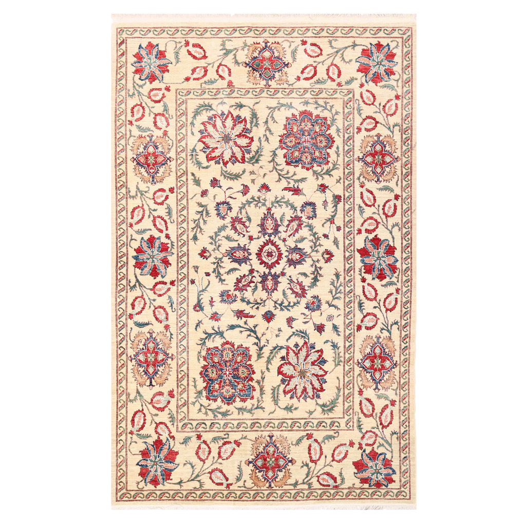 Vegetable Dyed Hand Knotted Floral Oushak Ivory Persian: Afghan Hand-knotted Vegetable Dye Suzani Wool Rug (6'4 X 9