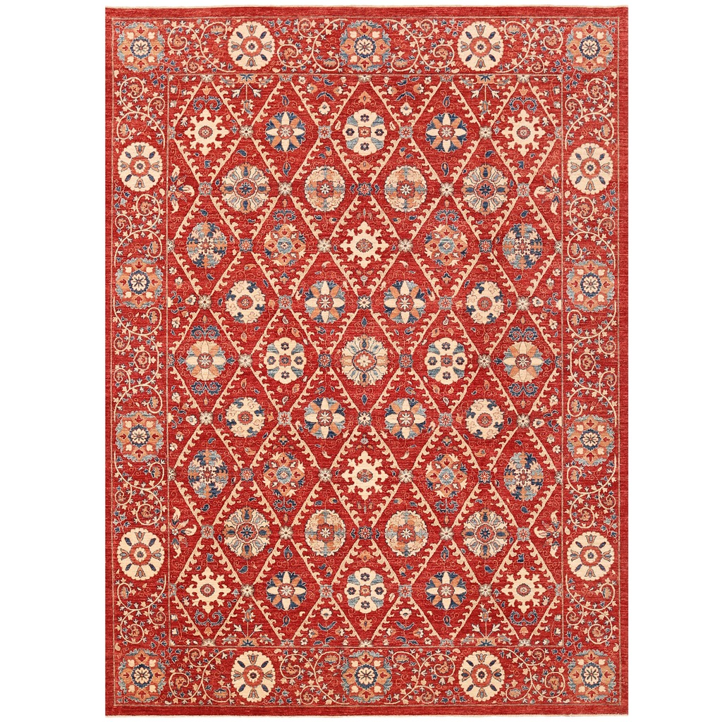 Afghan Hand Knotted Vegetable Dye Suzani Wool Rug 9 X 12 1
