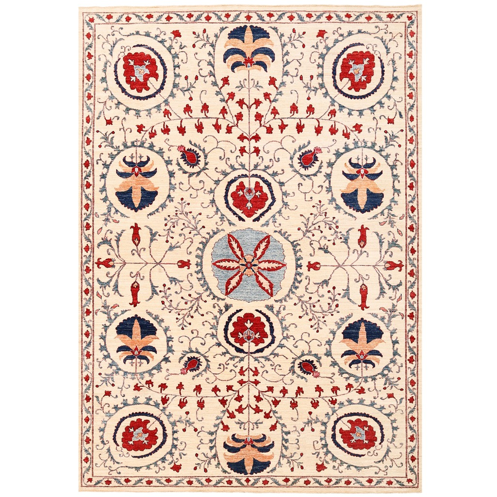 Vegetable Dyed Hand Knotted Floral Oushak Ivory Persian: Afghan Hand-knotted Vegetable Dye Suzani Wool Rug (8'1 X
