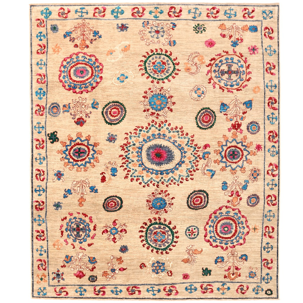 Vegetable Dyed Hand Knotted Floral Oushak Ivory Persian: Afghan Hand-knotted Vegetable Dye Suzani Wool Rug (8' X 9