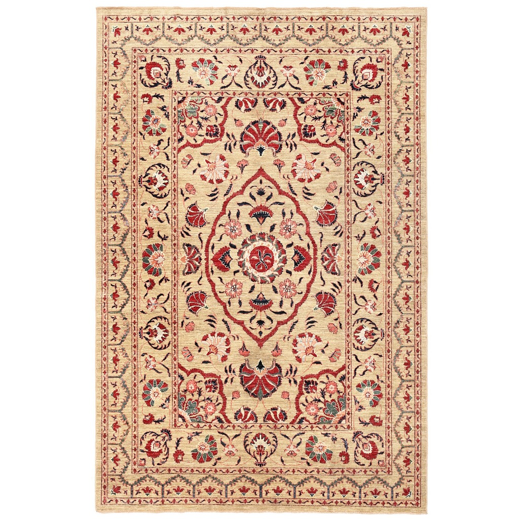 Vegetable Dyed Hand Knotted Floral Oushak Ivory Persian: Afghan Hand-knotted Vegetable Dye Suzani Wool Rug (5'11 X