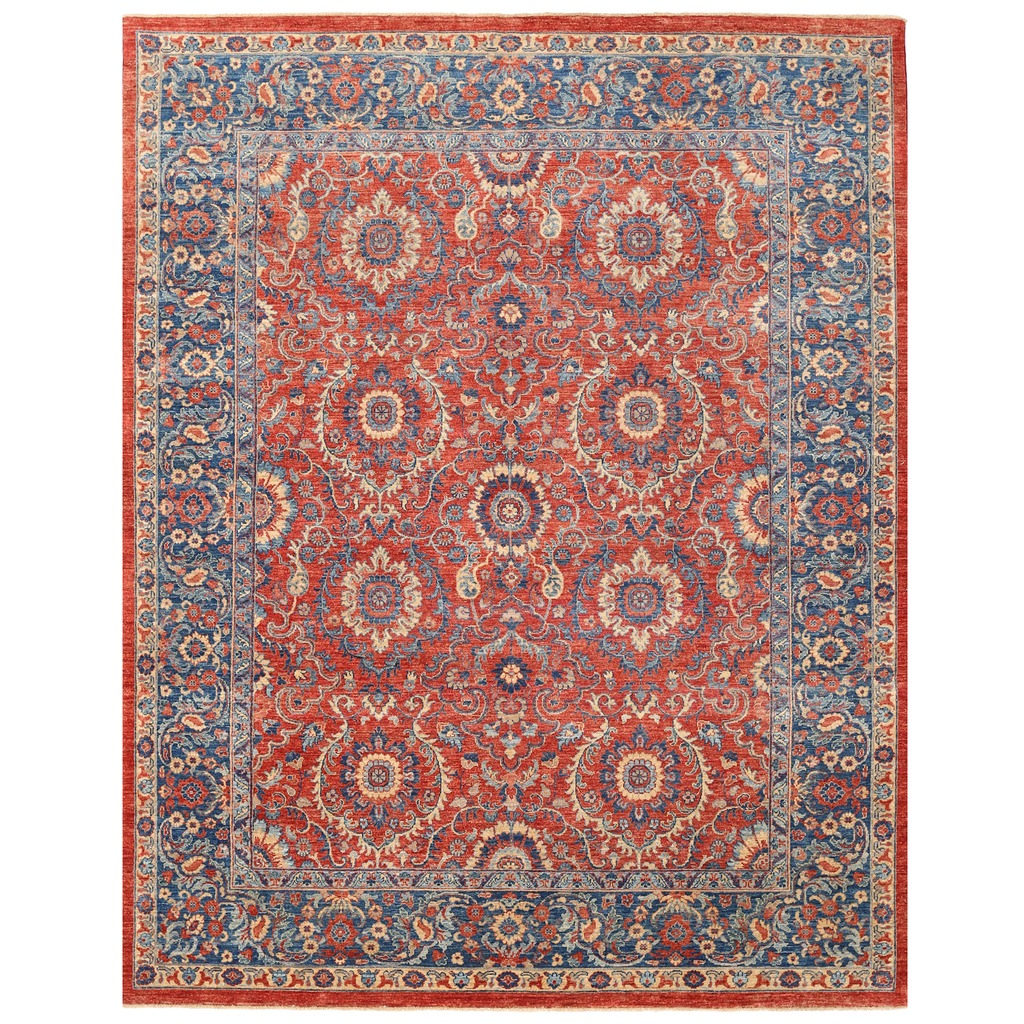 Vegetable Dyed Hand Knotted Floral Oushak Ivory Persian: Afghan Hand-knotted Vegetable Dye Khorasan Wool Rug (8'2 X