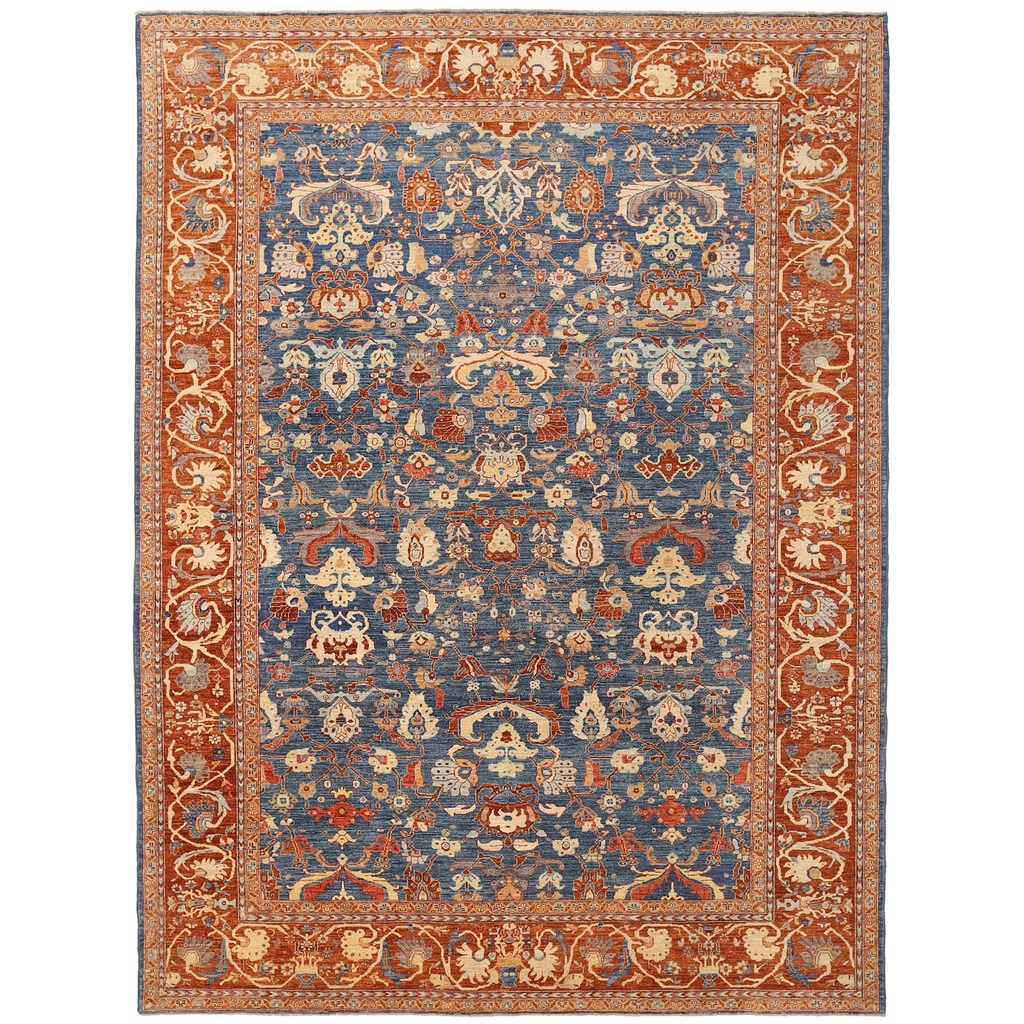 Vegetable Dyed Hand Knotted Floral Oushak Ivory Persian: Afghan Hand-knotted Vegetable Dye Oushak Wool Rug (10'2 X