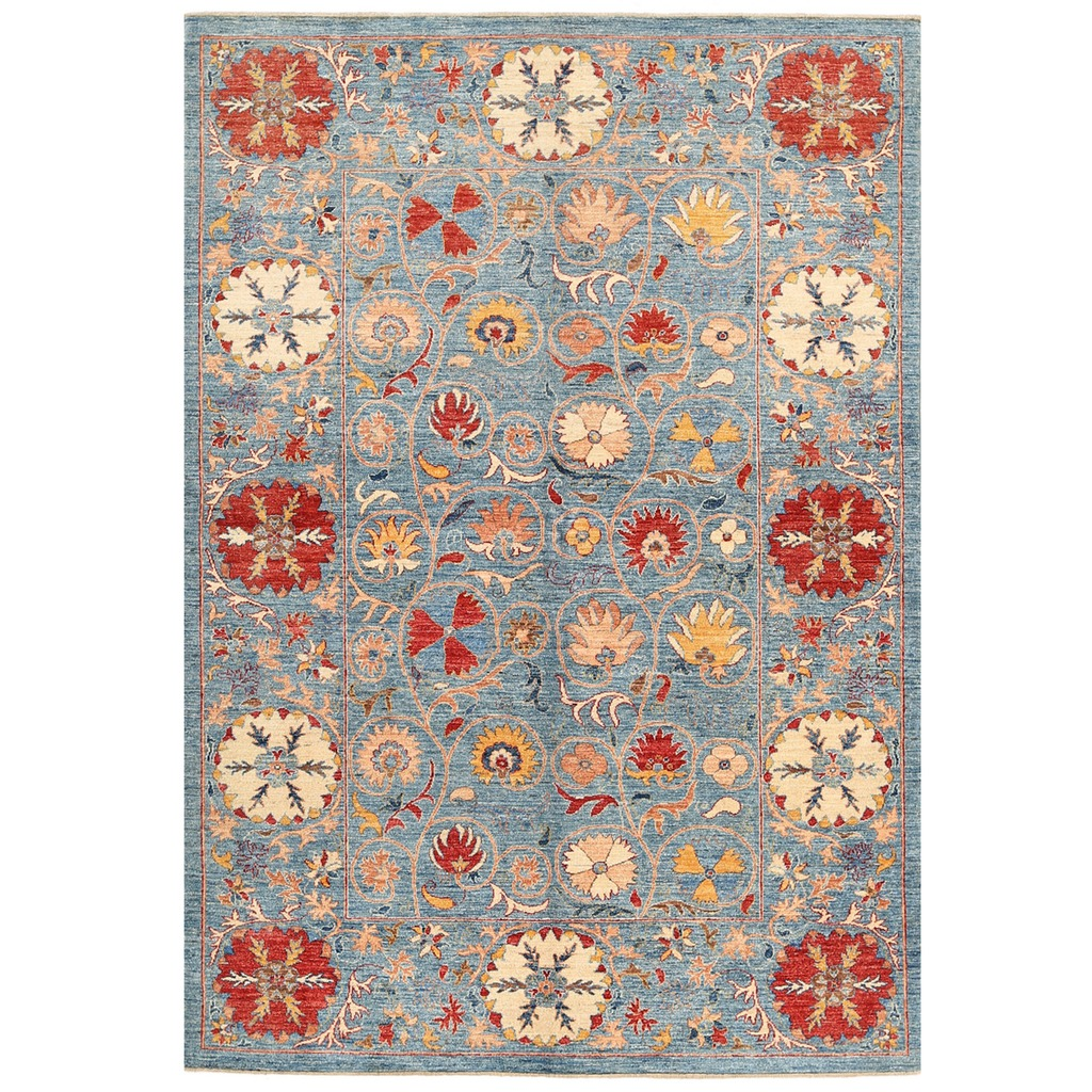 Vegetable Dyed Hand Knotted Floral Oushak Ivory Persian: Afghan Hand-knotted Vegetable Dye Suzani Wool Rug (6' X 8