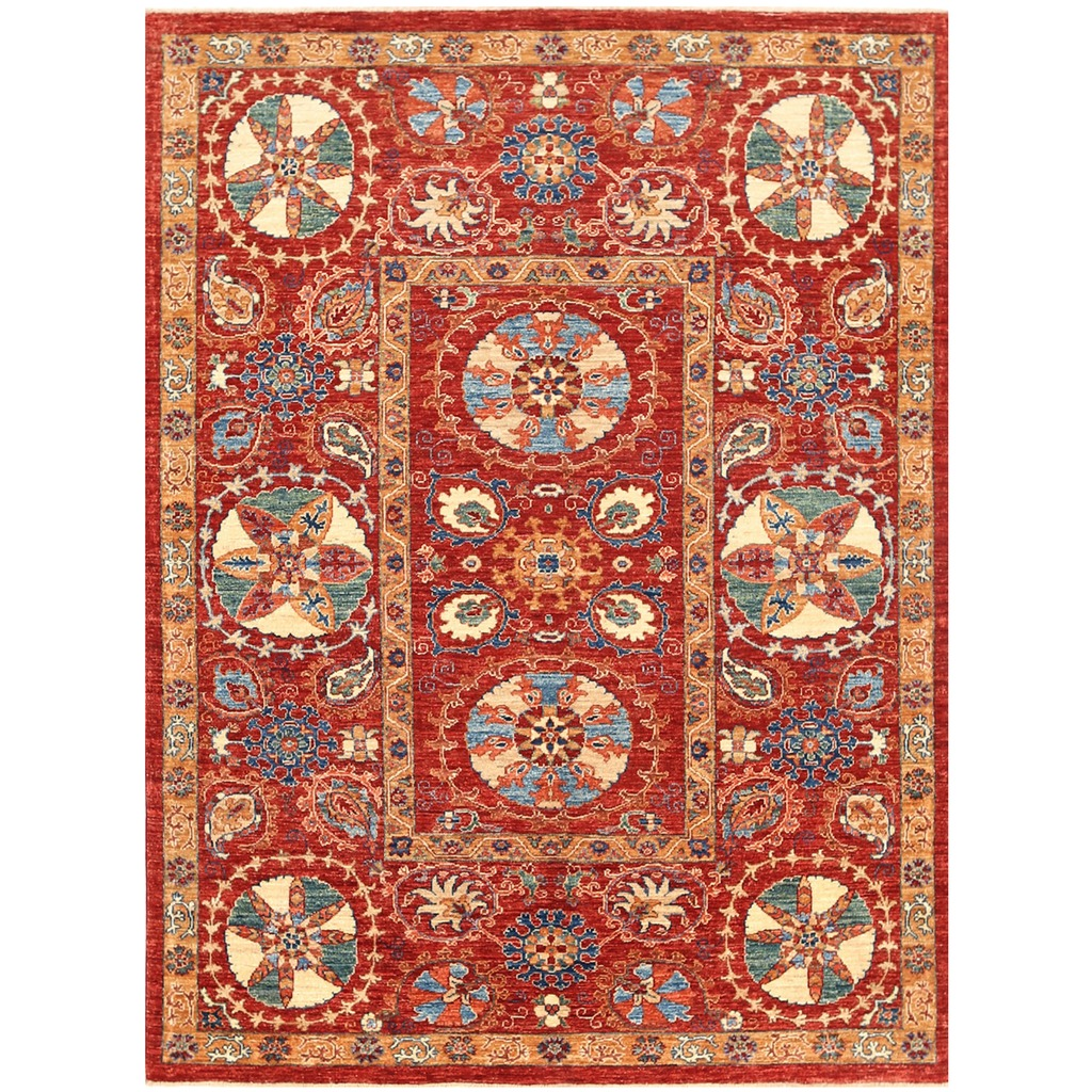 Afghan Hand Knotted Vegetable Dye Suzani Wool Rug 4 10 X