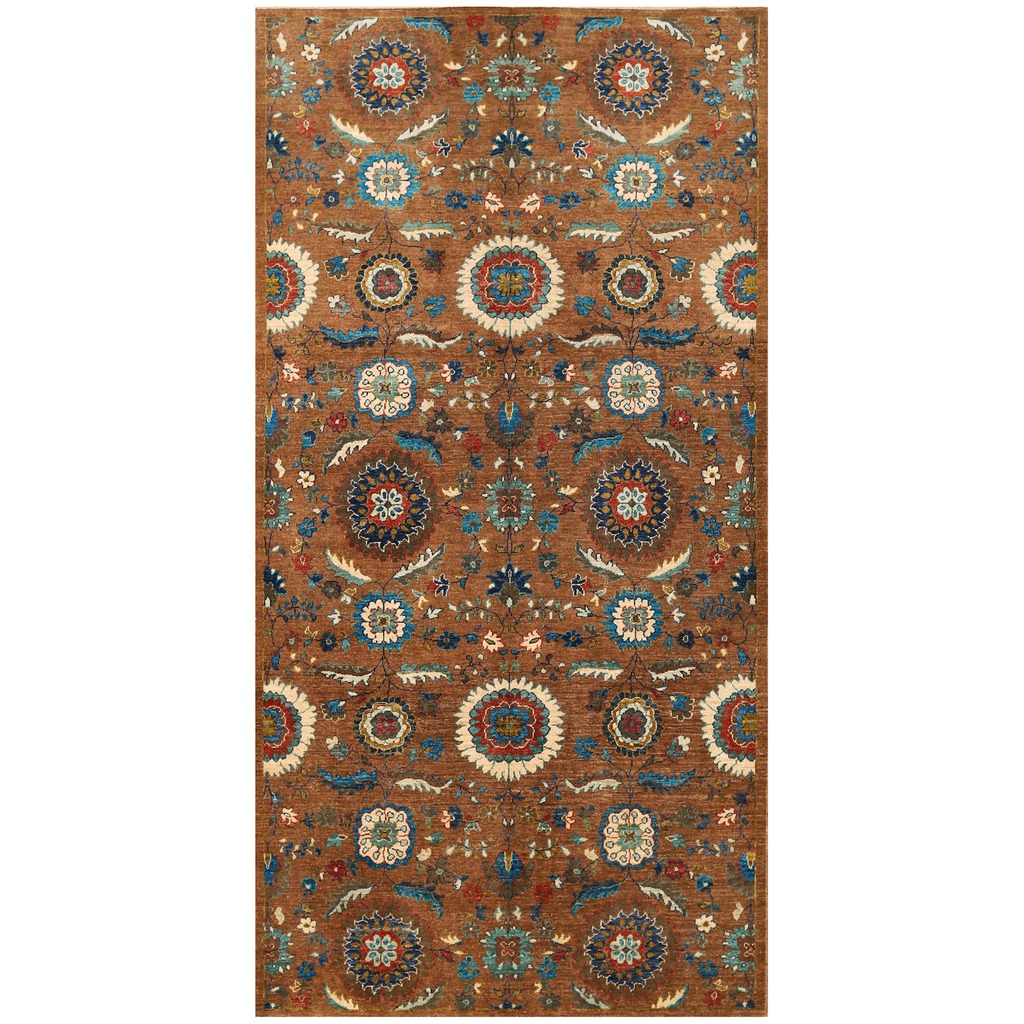 Afghan Hand-knotted Vegetable Dye Suzani Wool Rug (5′ x 10′)