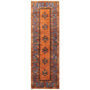 Afghan Hand-knotted Vegetable Dye Kazak Wool Rug (3'1 x 9'10) 1
