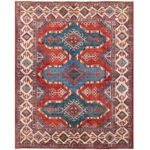 Afghan Hand-knotted Vegetable Dye Kazak Wool Rug (8' x 9'11) 1