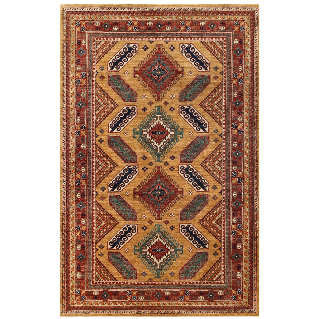 Afghan Hand Knotted Vegetable Dye Kazak Wool Rug 5 9 X 8 10