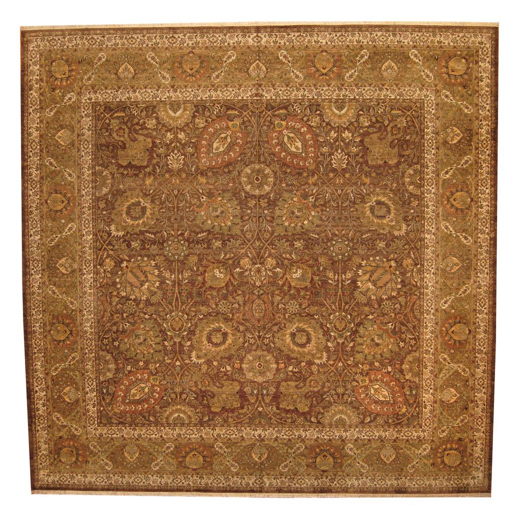 Indo Persian Tabriz Wool Area Rug: Indo Hand-knotted Vegetable Dye Tabriz Wool Rug (14' X 14